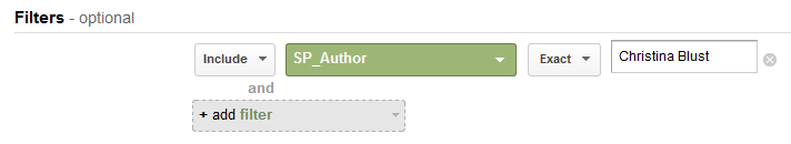 "In this case, I named my custom dimension ""SP_Author."""